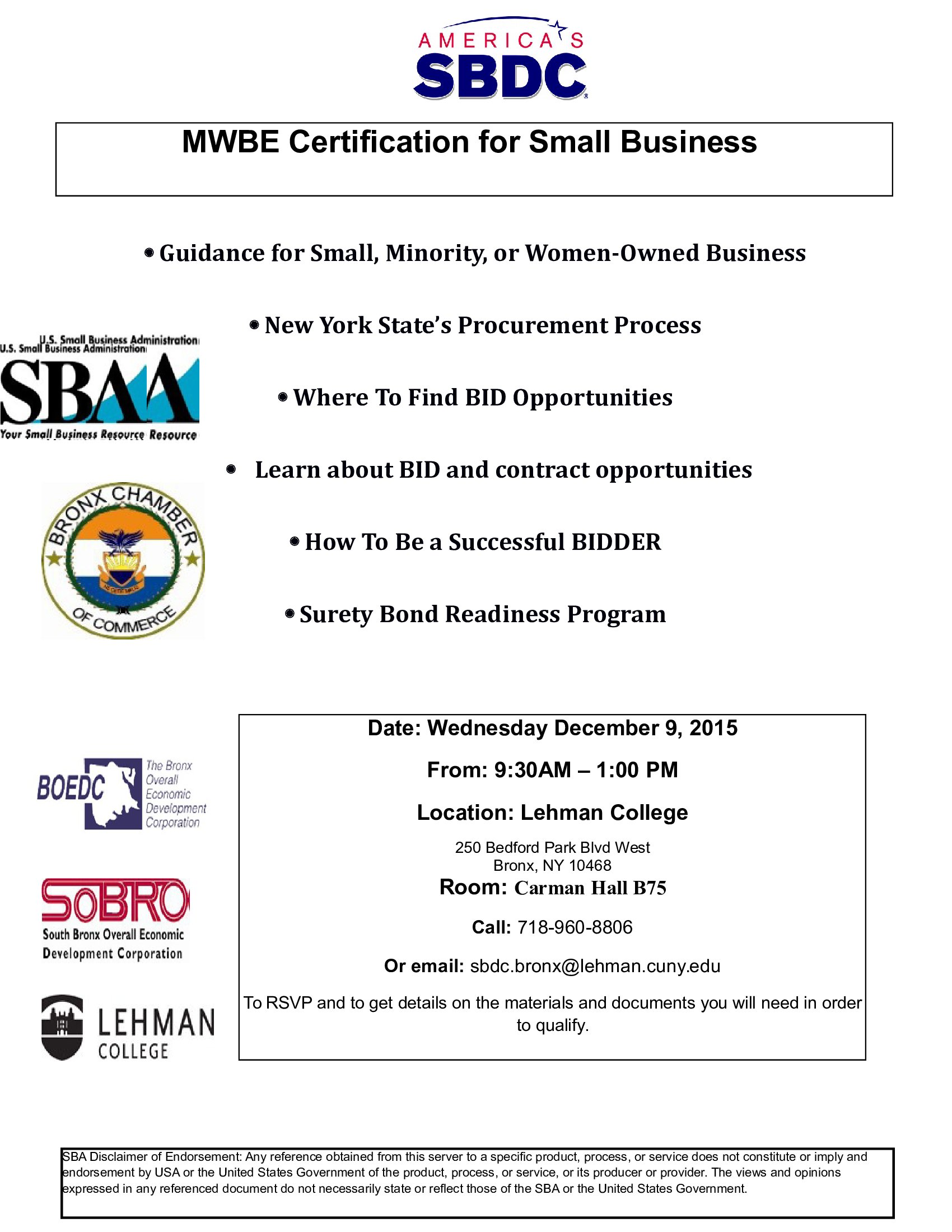 Mwbe Certification For Small Busines 1292015 Lehman College