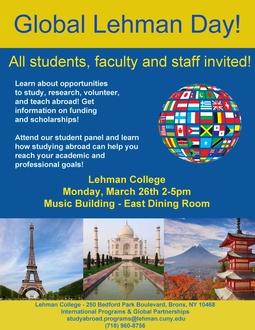 Global Lehman Day - All students, faculty and staff invited!